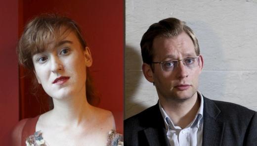 Zwei Portäts. Links Nora Bossong mit seitlich gelegtem Kopf vor dunkelrotem Hintergrund. Rechts Clemens Meyer mit leicht gerunzelter Stirn vor einer hellen Wand.