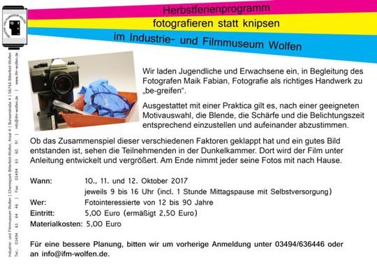 IFM-Herbstferienprogramm